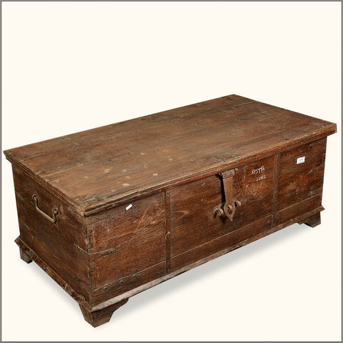 rustic reclaimed wood seafaring storage trunk chest decorative trunks