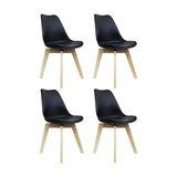 Scandi Wood X Dining Chair, Black, Set of 4