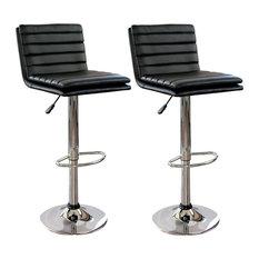 Modern Ripple Back Barstool in Black - Set of 2