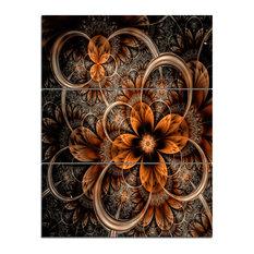 """Dark Orange Digital Art Fractal Flower"" Wall Art, 3 Panels, 28""x36"""