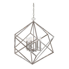 Mid Century Modern Interlocking Cubes Silver Pendant, 6 Light Chandelier Open