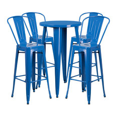 24-inch Round Blue Metal Indoor-Outdoor Bar 5-Piece Table Set With 4 Cafe Stools