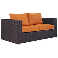 Modway Convene Patio Loveseat, Espresso and Orange