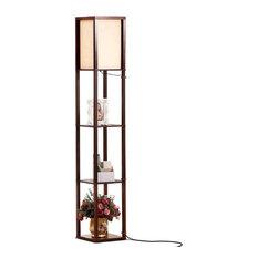Brightech Maxwell - Modern LED Shelf Floor Lamp - Skinny End Table & Nightstand,