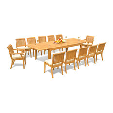 """13-Piece Outdoor Teak Dining Set, 122"""" Extension Table, 12 Arbor Stacking Chair"""