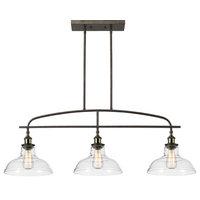 Kitchen Linear Island Pendant Light Vintage Lamp Chandelier, 3 Lights