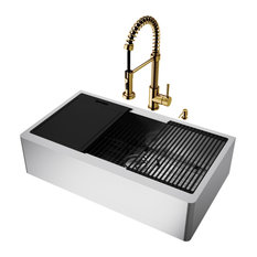 "VIGO Sink 36"" in Stainless Steel and Faucet in Matte Gold"