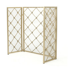 GDF Studio Chamberlain 3 Paneled Iron Fireplace Screen, Gold