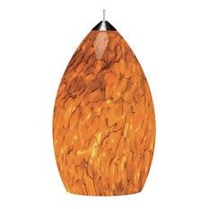 Tech Lighting Monorail Firefrit Pendant, Tahoe Pine Amber/Satin Nickel