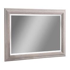 Contemporary Rectangular Wall Mirror, Distressed White, 74x101 cm