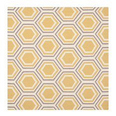 Safavieh Dhurries Dhu202A Ivory, Yellow Area Rug, 6'x6'