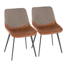 LumiSource Outlaw 2-Tone Chair With Espresso PU Leather and Brown, Set of 2