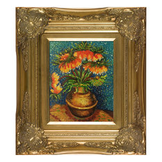 "Crown Imperial Fritillaries in a Copper Vase, Victorian Gold Frame 8""x10"""