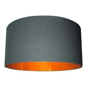 Cotton Lampshade, Slate Grey and Brushed Copper, 70x30 cm