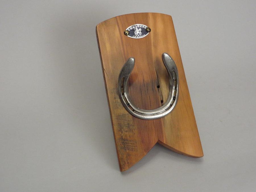#R15028 Coat Rack Reclaimed Ambrosia Maple, horseshoes, leather.