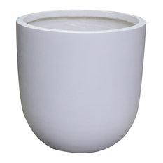 "Modern Concrete Round Cement Planter Pot, White, 15""x15""x15"""