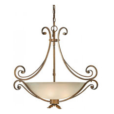Forte Lighting 4 Light Bowl Pendant in Rustic Sienna
