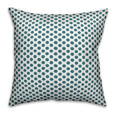 "Blue Polka Dots Outdoor Throw Pillow, 16""x16"""