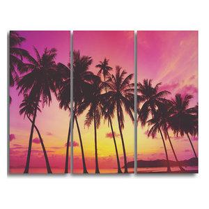 """Row of Beautiful Palms Under Magenta Sky"" Wall Art, 3 Panels, 36""x28"""