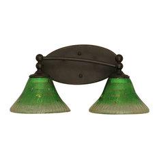 "Toltec Lighting Capri 2-Light Bath Bar, 7"" Kiwi Green Crystal Glass"