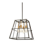 Keeley Calle 4-Light Pendant Painted Bronze/Natural Brush Glass