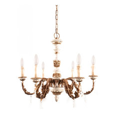 European Royal 6-Light Candle Wooden Chandelier