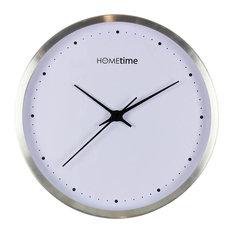 Hometime Wall Clock, Silver Finish
