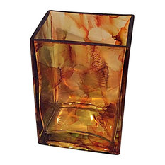 French Vanilla Rectangle Candle, Orange, Gold and Brown, 20 oz.