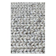 Good Thick Wool Modern Scandinavian Rug, Silver, .