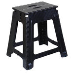 """Superio Brand - Folding Step Stool 18"""" Black - The space saving stool folds flat and has a build in handle for easy carrying. It opens with one flip of the hand. A must to have item in every home or office."""