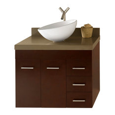 """Ronbow 31"""" Bella Solid Wood Wall Mount Vanity Set With Ceramic Vessel"""