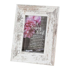 "Photo Frame, Table Top, Caring Heart, White, 4""x6"""