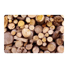 Fo Flor 2'x3' Faux Wood Mat, Stacked Logs