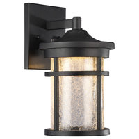 "Frontier Transitional LED Textured Outdoor Wall Sconce, Black, 11"" Height"