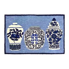 """Frontporch Ginger Jars Indoor/Outdoor Rug, Blue, 20""""x30"""""""