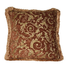"""Large Floral Fringe Pillow, Handmade, Copper, Coral, and Gold, 18""""x18"""""""