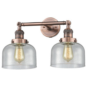 Innovations Large Bell 2-Light Dimmable LED Bathroom Fixture, Antique Copper