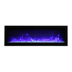 """Clean Face Built-In Electric Fireplace with Glass and Black Steel Surround, 50"""""""