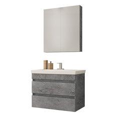 "DP Wall Bath Vanity Cabinet Set 28"" Single Sink With Laminated Granite Finish"