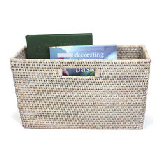 White Wash Rattan Slim Magazine Basket