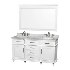 "60"" Double Bathroom Vanity in White With Marble Top, Undermount Sinks, Mirror"