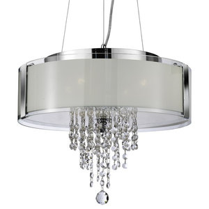 Pendant, 4-Light Chrome Trim With Frosted Glass and Crystal Drop