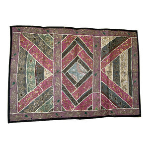 Mogul Interior - Consigned Wall Hanging Tapestry Hand Embroidered Indian Home Decor Art - Tapestries