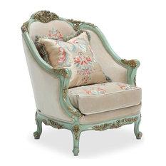 Aico Amini   Belle Fleur Accent Chair In Sea Glass, French Victorian  European   Armchairs
