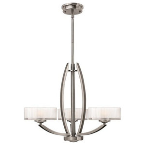 Meridian Contemporary 3-Arm Chandelier, Opal Glass Shade