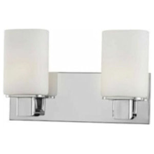 Alico Two Light Verticale Bath Vanity, Chrome Finish with White Opal Glass