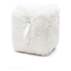 Square Sheepskin Pouffe, Natural White With White Strap