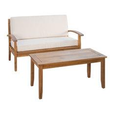 GDF Studio Keanu Outdoor Acacia Loveseat and Coffee Table Set, Beige