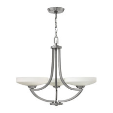 Hinkley Polished Antique Nickel and Etched Glass 3-Light Chandelier
