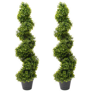 Emerald Artificial Boxwood Spiral Topiary, Set of 2, Green, 95 cm